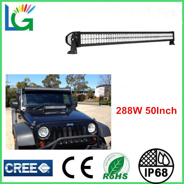 China manufacturer 50inch 288W 4x4 Cree Led Car Light High Lumen Led Work Light Bar 4x4 Jeep Off Road 4WD 12V 24V