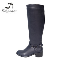 2017 Wholesale Women Black Knee High Harness Motorcycle Horse Riding Ladies Boots Genuine Leather