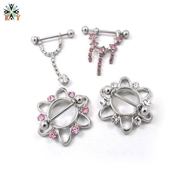 Crystal nipple pendant nipple stretching jewelry piercing for Pierced nipple stretching jewelry