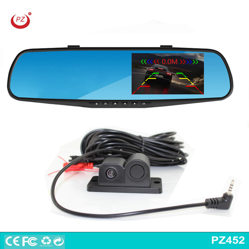 4.3 inch rearview mirror camera car dvr with parking sensor