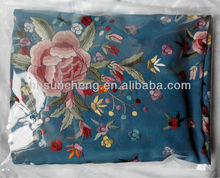 Blue Spainish flamenco piano shawl manton de manila -100% handmade Chinese silk embroidery-110cm