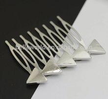 triangle shiny metal hair brush for women
