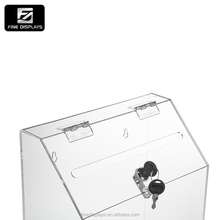 Acrylic Comment/Donation /Collection/Ballot Box with Brochure Pocket and Lock