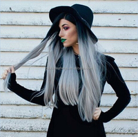 Free shipping Ombre grey front lace wig hot selling synthetic lace front wig wholesale grey hair synthetic wig