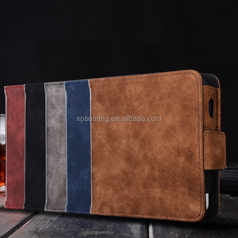 Retro wallet flip leather case for IQOS E-cigarette, high quality PU case with card slots for IQOS