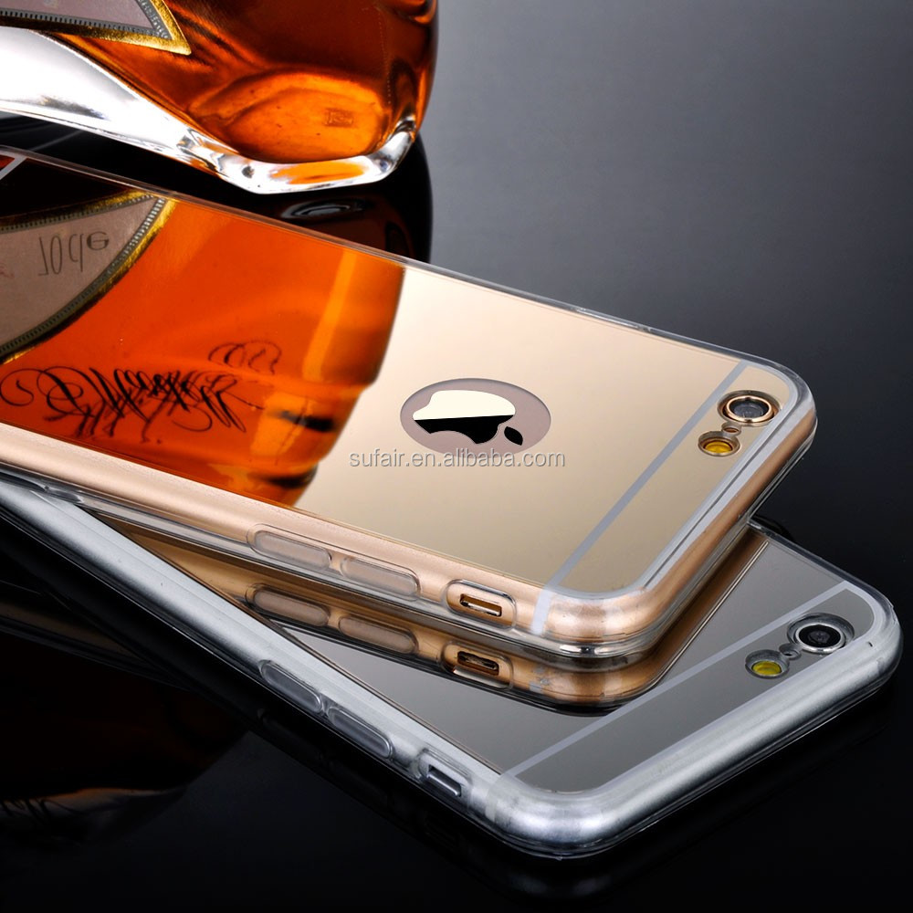 Durable silicone Soft TPU pink gold black silver mirror electroplate phone case for iPhone 6 / 6S 4.7 5.5