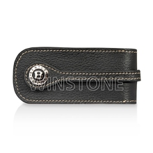 Matal Car Logo Buckle Cowhide Leather Key Case