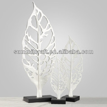 polyresin silver abstract tree leaves art work craft