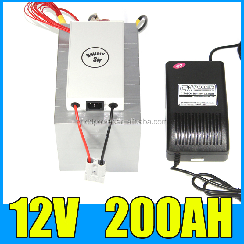 lifepo4 12v 200ah battery pack 2500W ev car battery with BMS system