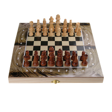 3 in 1 Solid Wood Wooden Chess backgammon Checker Set