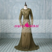 AEW0190 New Real Sample Long Sleeve Appliques Lace A-line Evening Dresses 2016
