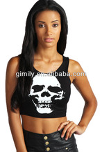 apparel plus size clothing clothes turkey wholesale summer sleeveless skull print crop top