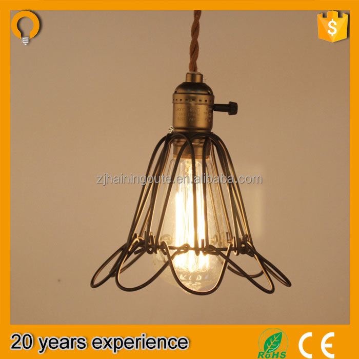 Iron material lighting fixture cage , edison bulb fixture with ST64 bulb