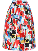 Skirts Bottoms fashion women girl clothes Florals Flare Multicolor Skirt