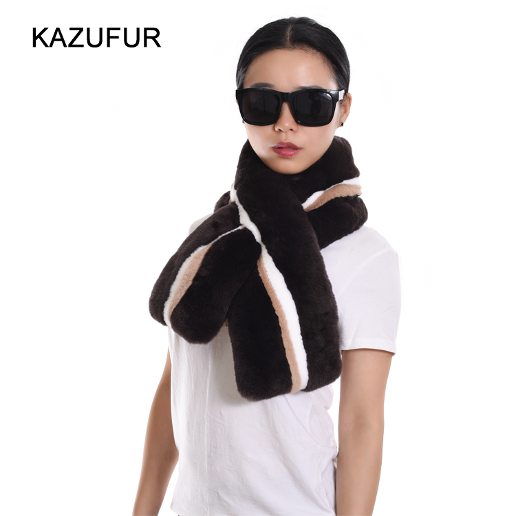 2016 New Fashion Women Coffee Multi Color Rex Rabbit Fur Scarf