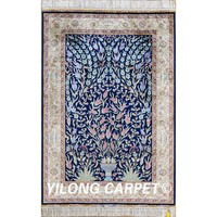 Yilong 3'x4.5' blue garden scene tree of life silk persian carpets