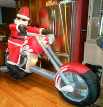 giant christmas inflatables yard decoration, motorcycle santa christmas inflatables for sale