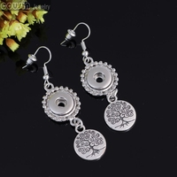12mm Ginger snap button Earrings interchangeable jewelry charm Earrings Tree of life Cousin Jewelry
