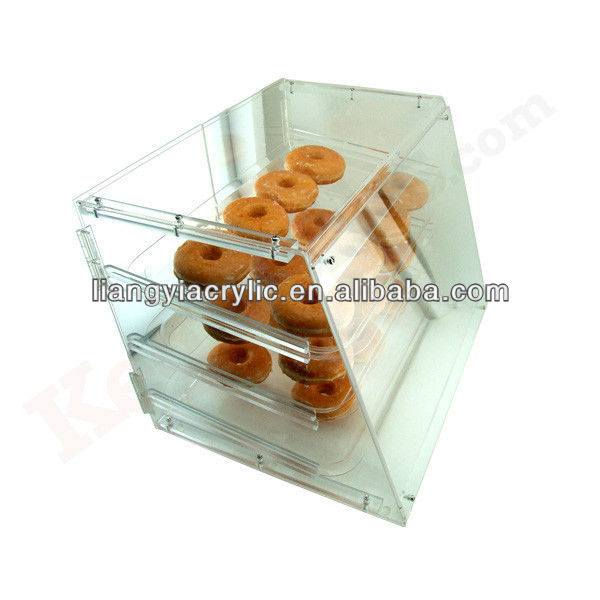 Clear acrylic bakery pastry donut display case- 3 shelves - Acrylic counter food cabinet shelf
