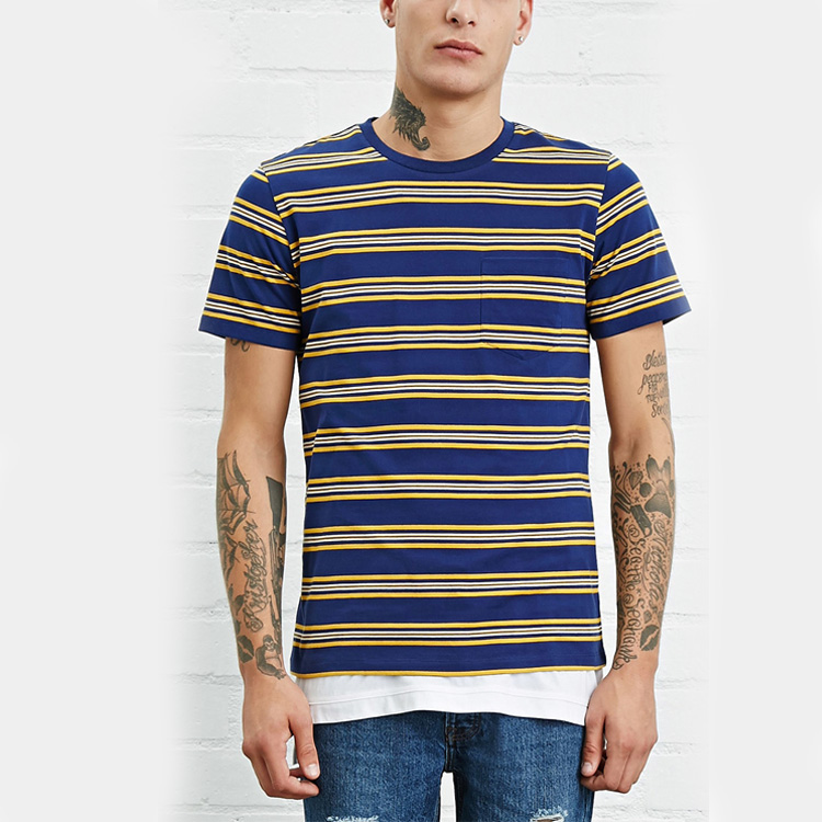 hot sale new design short sleeve pocket stripe custom t shirt for men