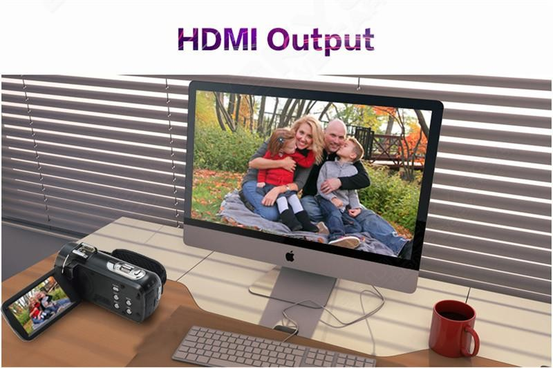 "2016 Excellent Quality HDV-Z20 Wifi Remote Digital Camcorder 1080p Full HD 3"" Touch Screen Red Shoe and External Flash Light"