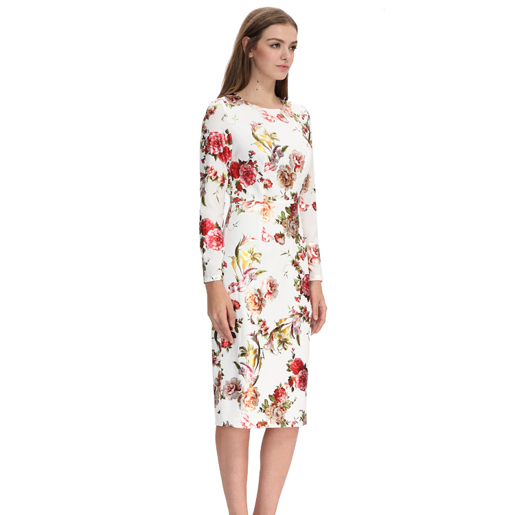 Wholesale Elegant Women Clothing Long Sleeve Flower Print Dress Fashion Customized Ladies Knee-Length Digital Floral Print Dress