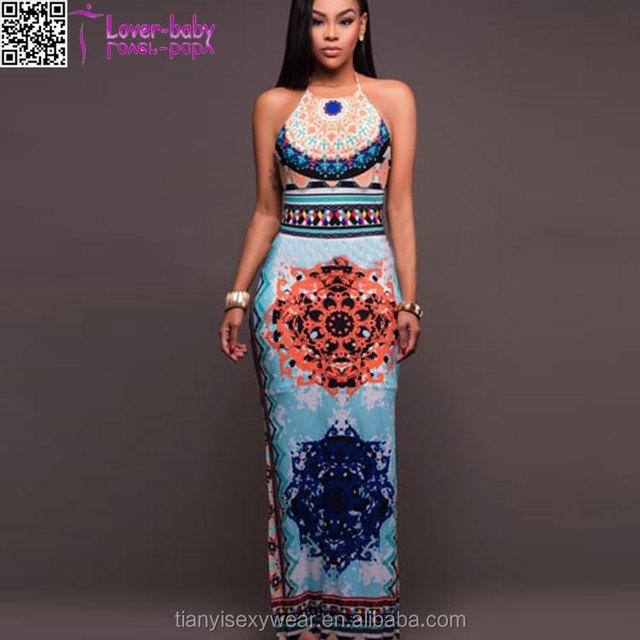 Hawaiian Orange Multi-Color Aztec Print long maxi dress