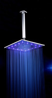 high quality 16 inch 40 cm large huge big brass chrome square dynamo led rainfall ceiling shower heads with arm