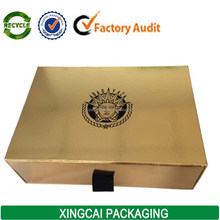 Metallic Gold Cardboard Sliding Draw Boxes with ribbon