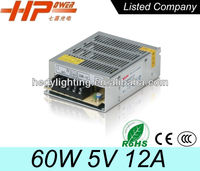 factory price CE RoHS constant voltage single output small size ac dc power supply 12A 60 watt 5V led driver
