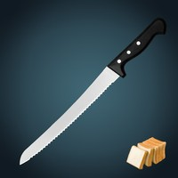 "kitchen knife professional stainless steel blade 10"" Narrow kitchen Bread knife with POM handle"