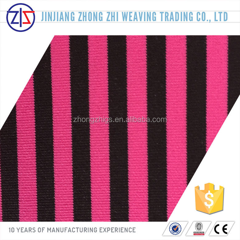 New Arrival Striped Polyester Spandex Stretch Knitted Fabric
