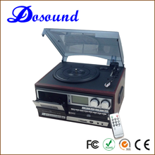 Cheap retro radio cd turntable player vintage vinyl records lp player with dust cover