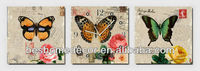 Antique design flower butterfly oil painting wall clock picture