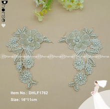 New fashion 3D paris flower pearls beaded net lace,Embroidery tulle net lace applique with crystal