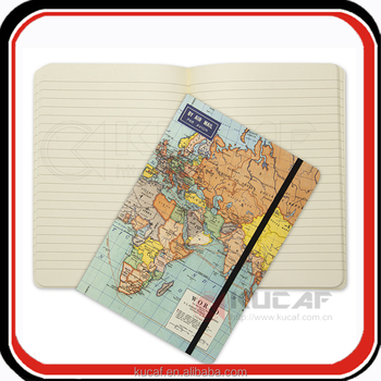 Customized Map pattern hard cover travel themed journal notebook