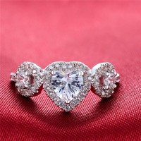 2016 Wholesale Crystal Fashion Diamond Stretch Wedding Ring