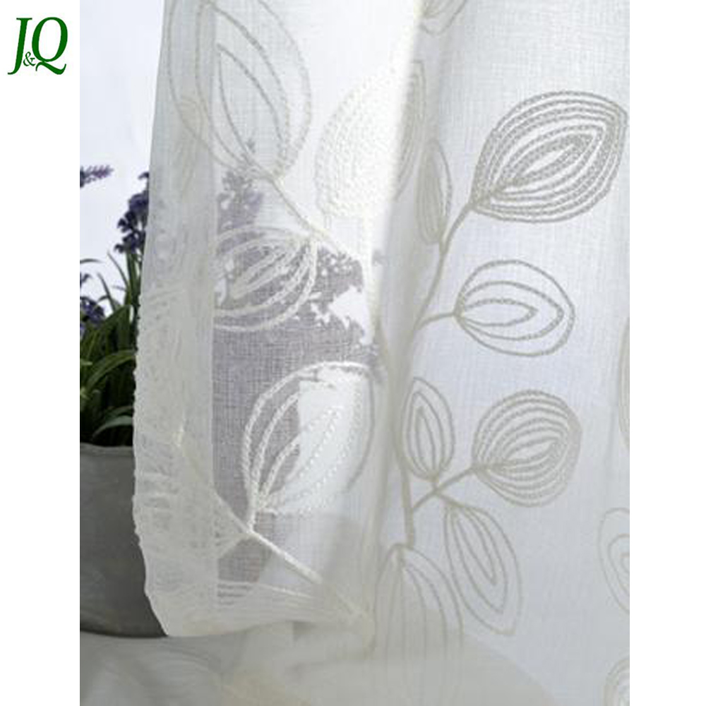 White Fancy Modern Designs Organza Curtains with Embroidery