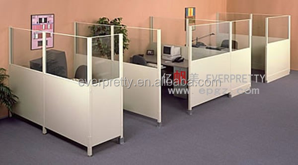 Glass partitions office workstation competer desk layout
