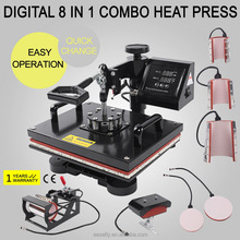 Hot sale! Dongguan Muti-purpose 8 in 1 Combo Heat Press Machine with CE certificate and One Year Warranty