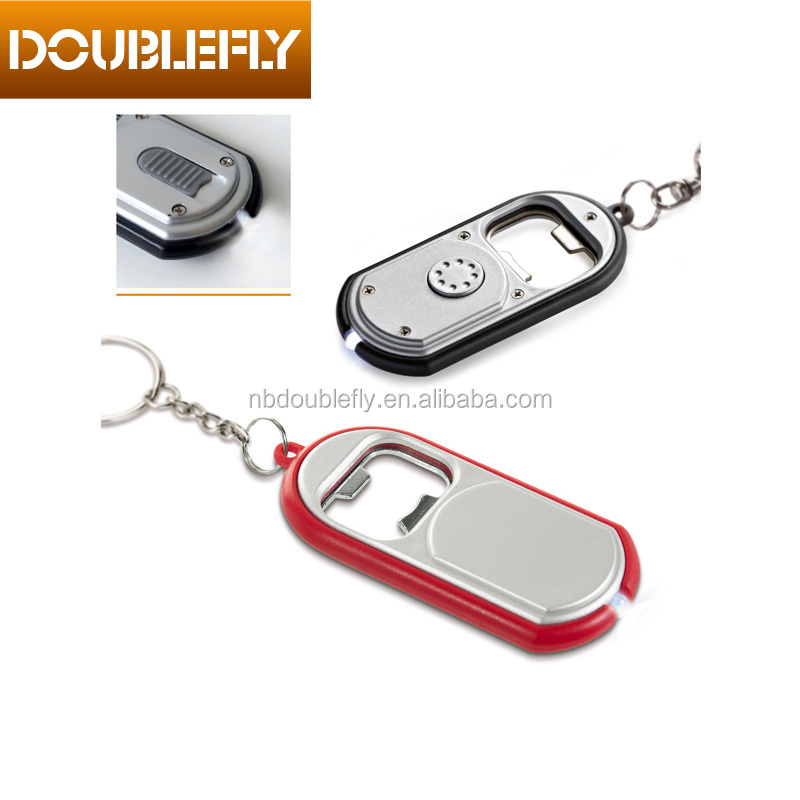 Promotional Plastic Keychain With LED Light And Bottle Opener Flash Torch Led Light Keychain