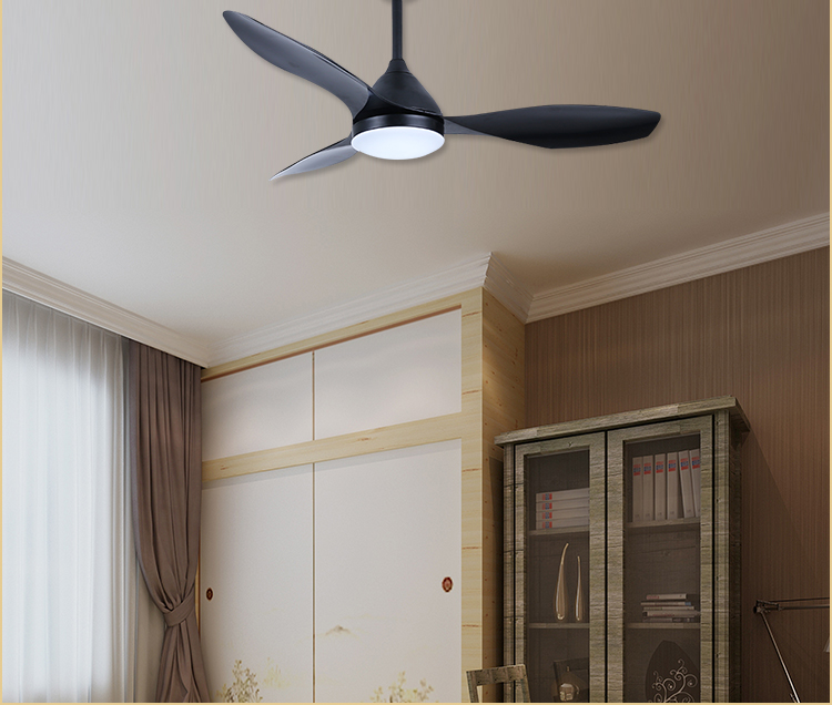 48 inch rotating black ceiling fan with warm white led light and remote control