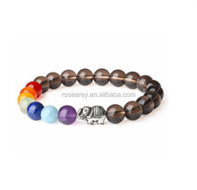 Elephant Charm Smoky Yoga Jewelry 7 Chakra Nature Stone Bead Bracelet Color Combinations
