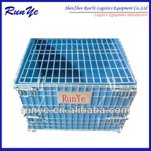 Collapsible wire mesh container with post (manufacture)
