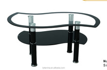 2016 Cheap Simple Design Glass High Quality Coffee Table with S shape