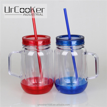Wholesale Custom Design Double Wall Plastic Mason Jars with Handle and Straw