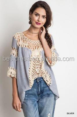 New Fashion Women Lace Crochet Loose Tops 3/4 Sleeve Shirt Kimono Casual Blouse