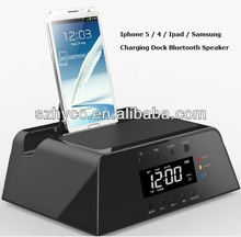 Clock alarm FM Radio Mini Dock Bluetooth speaker for iPhone Samsung Nokia iPad
