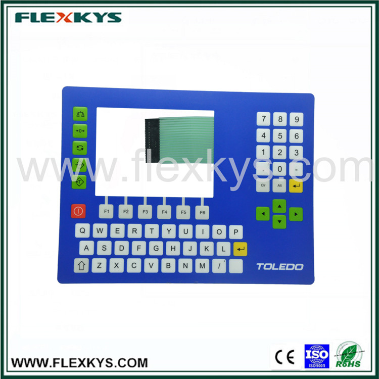 Own factory embossed keys metal dome tactile keyboard thin-film membrane switch for barcode scale