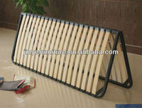 Adjustable metal bed frame with wooden slats